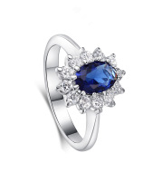 High-end foreign explosions jewelry Europe and the United States popular engagement ring high-grade blue zircon gold ring