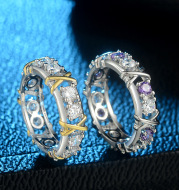 Europe and the United States zircon two-color ring ladies color separation Zircon engagement jewelry