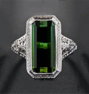 Europe and the United States party ring female natural emerald wedding ring birthday gift engagement