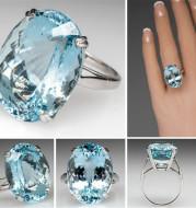 European and American fashion hot engagement engagement diamond ring diamond inlaid sea blue Topaz ring jewelry