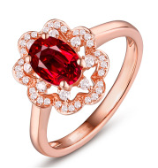 Hot silver ring engagement ring high-end ruby ring rose gold ring jewelry