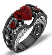 Creative design for the Amazon. Europe and the United States princess diamond ring heart-shaped ruby engagement lady black gold ring