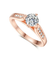 Classic foreign hot hand decorated Korean minimalist engagement rose gold plated ring Nvjie high-grade zircon wholesale