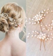 Ebay cross-border supply Korean bride handmade pearl crystal Clip Wedding headdress hairpin pin U