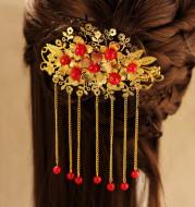 The bride wedding gown headdress Costume Red Dragon hair Coronet Xiuhe retro clothing accessories Chinese wedding accessories