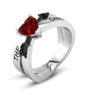 Zhen Rong new, European and American THE ONE arrow ring love Cupid's arrow red ruby engagement ring woman