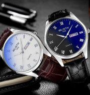 Dual calendar quartz watch