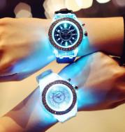 LED Luminous Watches Geneva Women Quartz Watch Women Ladies Silicone Bracelet Watches