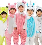 Children's cartoon Siamese pajamas animal dinosaur baby girls flannel Pikachu autumn winter male tiger Tong