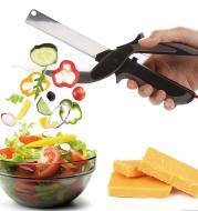 2 in 1 Stainless Steel Kitchen Knife Shears Vegetable Slicer