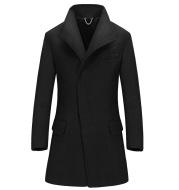 Long mid-length men's wool coat