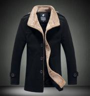 Lamb wool men's woolen jacket with stand-up collar