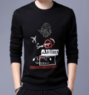 Men's plush and thickened T-shirt long sleeve