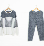 New soft striped men's pajamas in autumn and winter