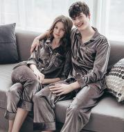 Couple gold velvet long sleeve pajamas