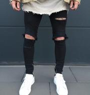 Men's biker pants fashion knee fold Slim zipped ripped jeans