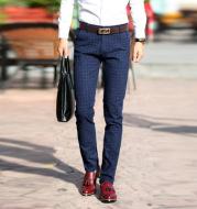 Fashion middle age business plaid pants