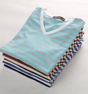V-neck Stripe Cotton Short Sleeve T-Shirt