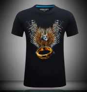 Men's short sleeved 3D T-shirts pure cotton tide brand character printing collar loose plus fertilizer increase half sleeve shirt T EAGLE RING