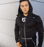 Muscle fitness training clothes Mens Running brothers Hoodie hooded windbreaker breathable quick dry sport jacket