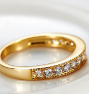 Exclusive love ring European and American style wedding ring 18K gold high-grade AAA zircon ring