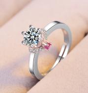 Classic six claw single diamond ring simulation plated 18k white goldring diamond engagement ring