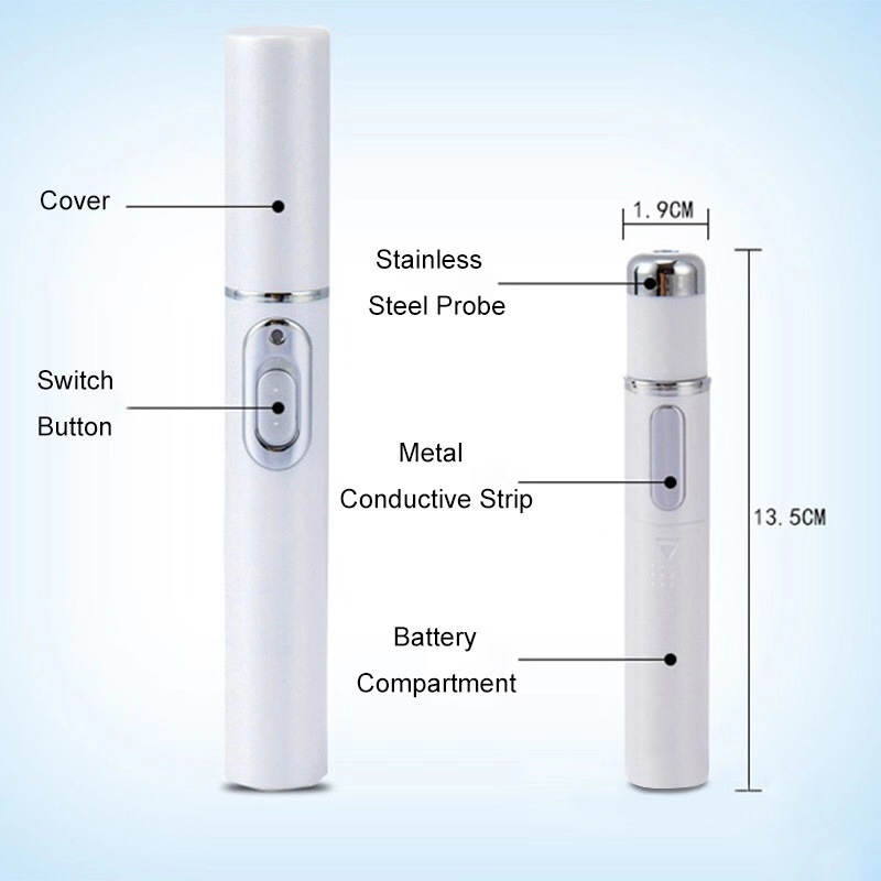 White portable beauty pen for removing acne, scar, wrinkle, skin blemish, pimples, swelling zits, redness, inflammation