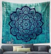Indian Mandala Tapestry Green Blue Flower Beautiful Wall Art Tapestry 210x150cm Bedspread Beach Towel Yoga Blanket Table Cloth
