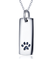 Ladies Glossy Square Dog Paw Print Tag Necklace
