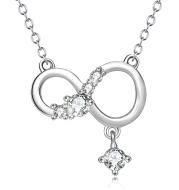 Infinite Pendant 925 Sterling Silver Diamante Necklace