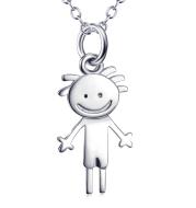 Cartoon Little Boy Pendant 925 Sterling Silver Necklace