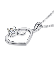 Heart Diamante Pendant 925Silver Necklace