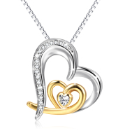 Gold /Silver Heart Pendant 925 Sterling Silver Necklace