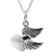 925 Sterling Silver Angel Wings Heart Shape Necklace