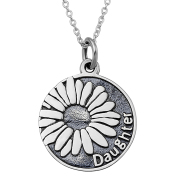 Daisy Flower Daughter Letter Pendant 925 Silver Necklace