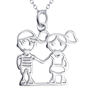 925 Sterling Silver Hand In Hand Boy&Girl Necklace