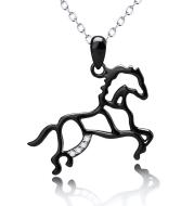 Black Horse Pendant 925 Silver Necklace