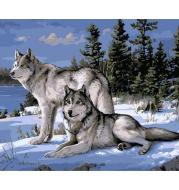2 wolfs painting