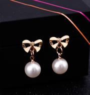 Allergy-Free Heart Zircon Ear Pins Bowknot Pearl Earrings for Women Pendiente Eardrop Rose Gold Earrings Fashion Jewelry
