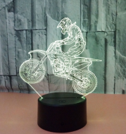 New style motorcycle 3D lamp seven color visual stereoscopic lamp LED gradual change touch remote control visual lamp 3D desk lamp