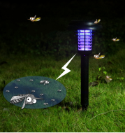 Solar Led Rechargeable Anti-Mosquito Lamp Electronic Fly Bug Zapper Insect Pest  Uv Trap Outdoor Garden Lawn Lamp