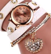 Brand watch lychee diamond pendant PU winding bracelet watch
