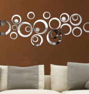 Never stop mirror wall stickers instead of mirrors Wall stickers can be reflective Green removable wall stickers Three-dimensional relief