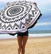 European and American printed tassel round beach mats Seaside yoga mat round beach towels