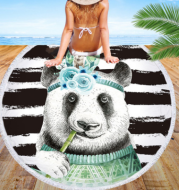 Round beach towel, cute animal, panda, beach towel, shawl cushion, microfiber