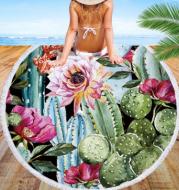 Round beach towel oasis cactus beach towel shawl cushion microfiber