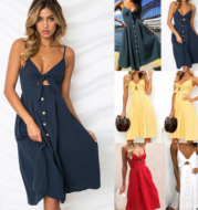Buttoned Bow Back Sexy Strap Dress