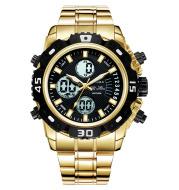 Electronic double display quartz watch men's steel belt business watch