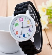 Korean version of Geneva watch ice cream candy color silicone with digital hollow pointer male and female students couple watches