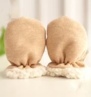 Organic cotton lambskin thickening baby gloves children's warm anti-scratch gloves